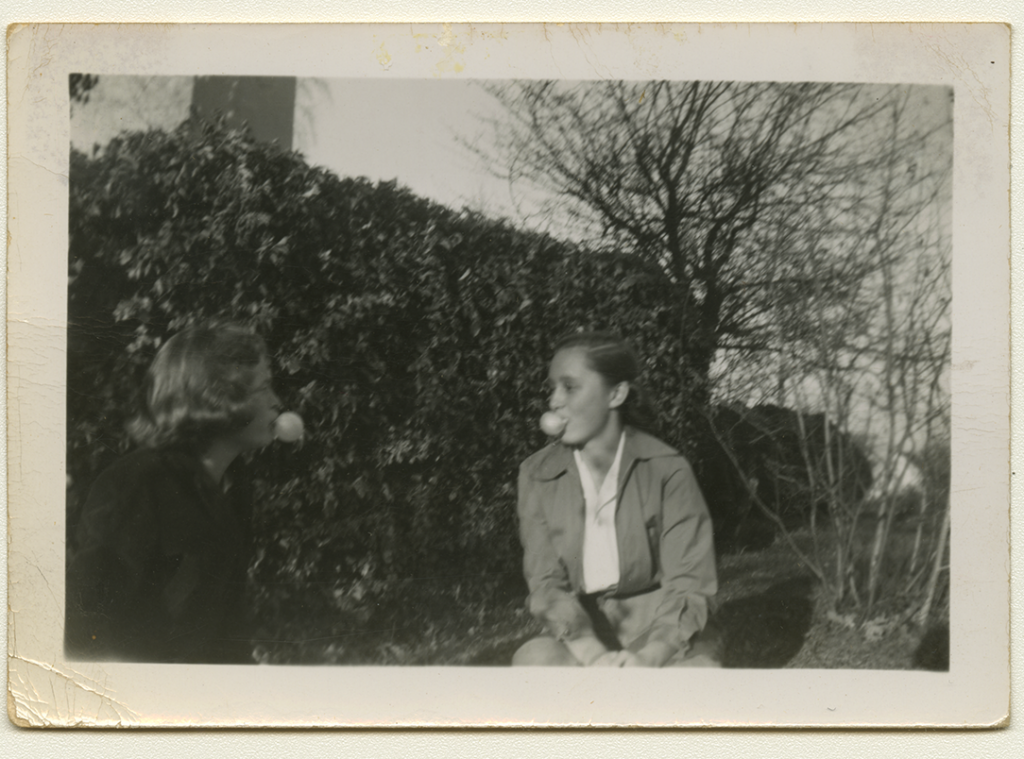 Anne Wilson and Sandra Maynard with bubblegum