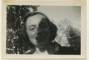 Black and white polaroid of Anne Wilson up close