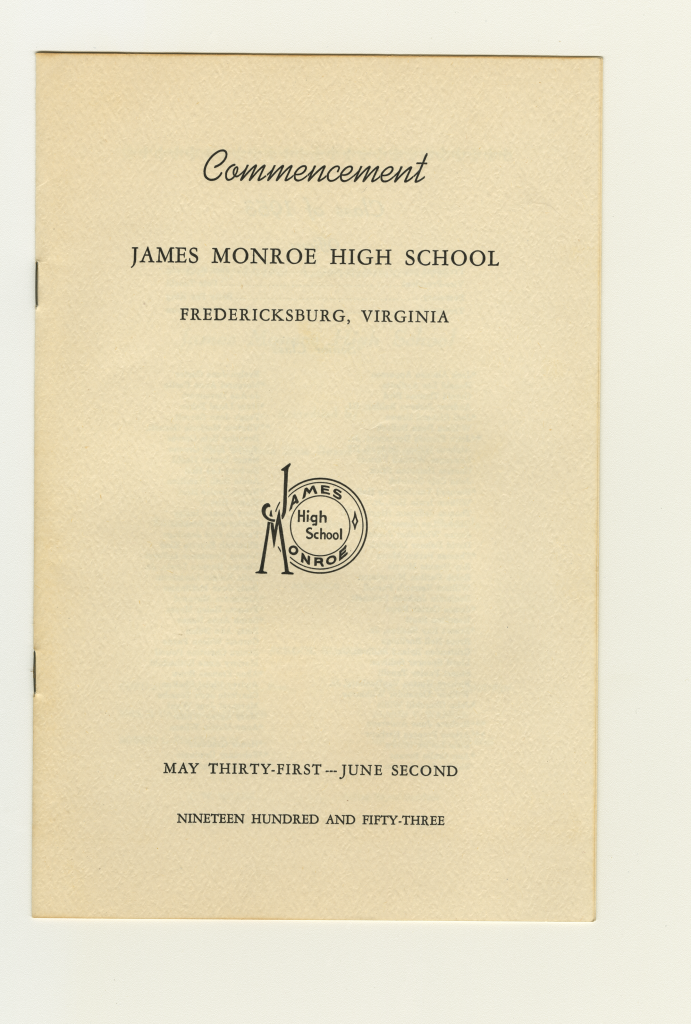 The front cover of Anne Wilson's commencement booklet from her graduation