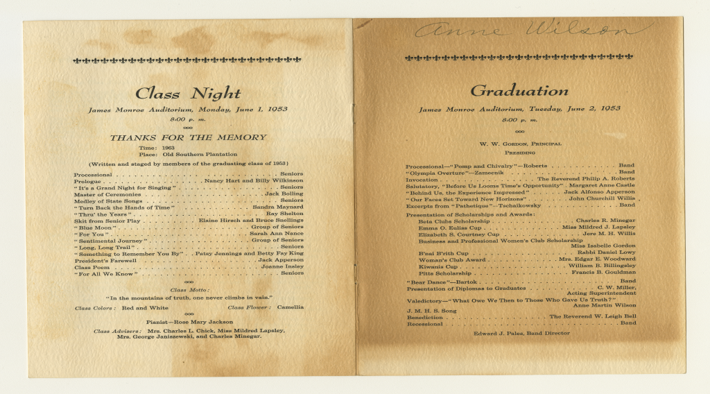 Two open pages of Anne Wilson's high school graduation booklet