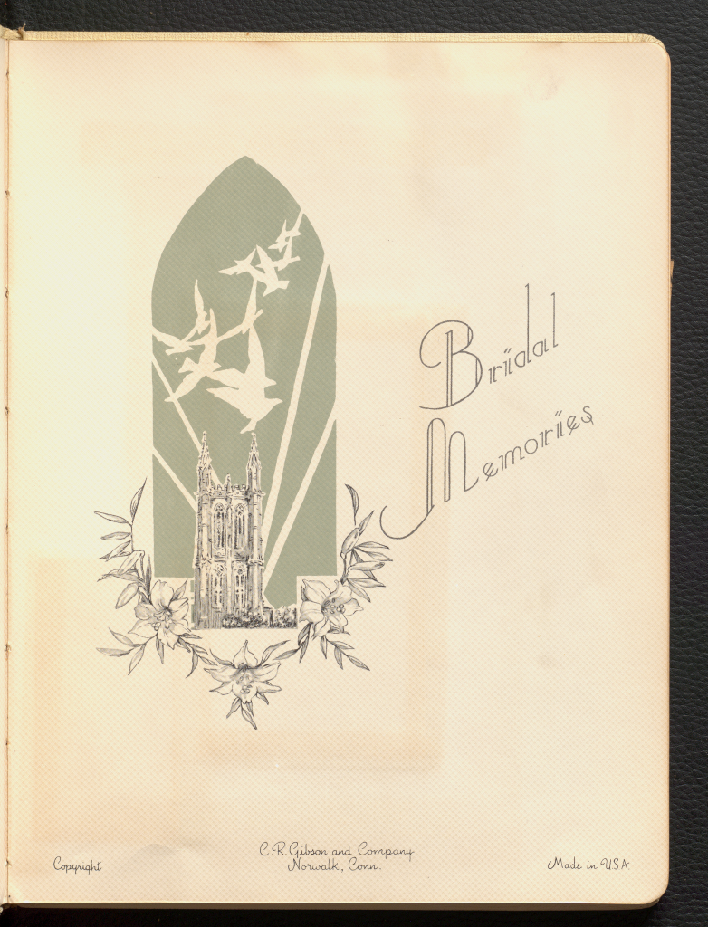 The end page of Anne Martin Wilson's 1956 bridal book that features a dove, chapel, and flower detail.