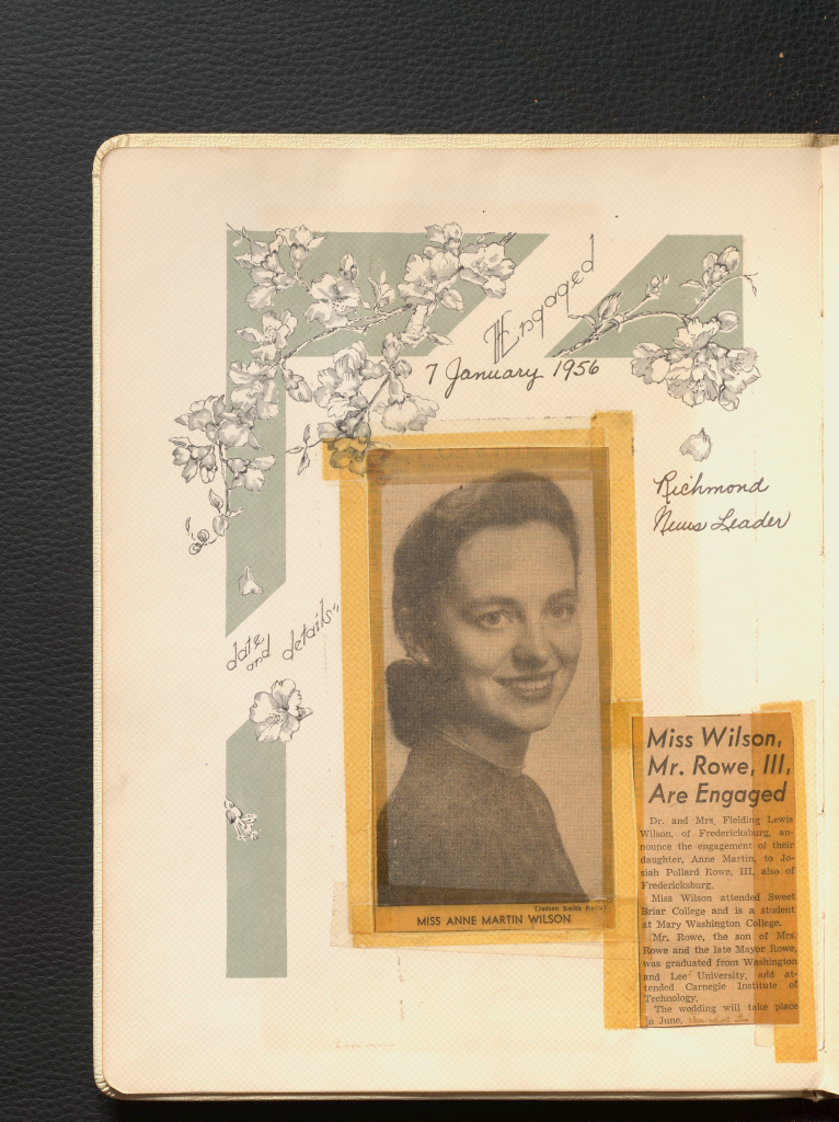 """A black and white photograph of Anne Wilson is taped to the center of the """"Engaged"""" page of her bridal book beside a newspaper clipping that reads, """"Miss Wilson, Mr. Rowe. III, Are Engaged"""""""