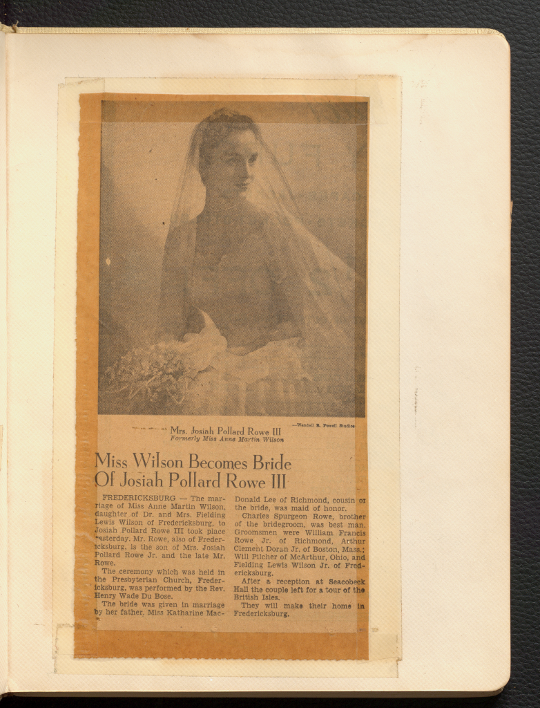 """A black and white photograph of Anne Wilson in her wedding dress and veil atop a newspaper article titled """"Miss Wilson Becomes Bride of Josiah Pollard Rowe III"""""""
