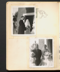 Two black and white photographs of Anne Wilson at her wedding day.