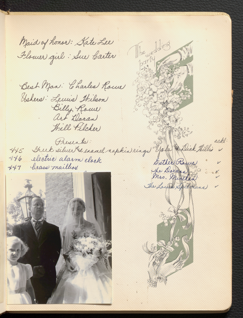 One photograph of Anne Wilson on her wedding day with a handwritten list of wedding party members.
