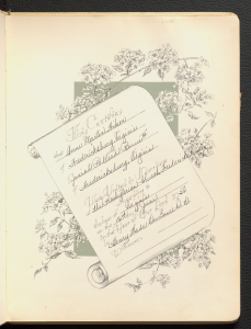 A symbolic marriage certificate that includes the date and location of Anne Martin Wilson and Josiah Pollard Rowe III's wedding