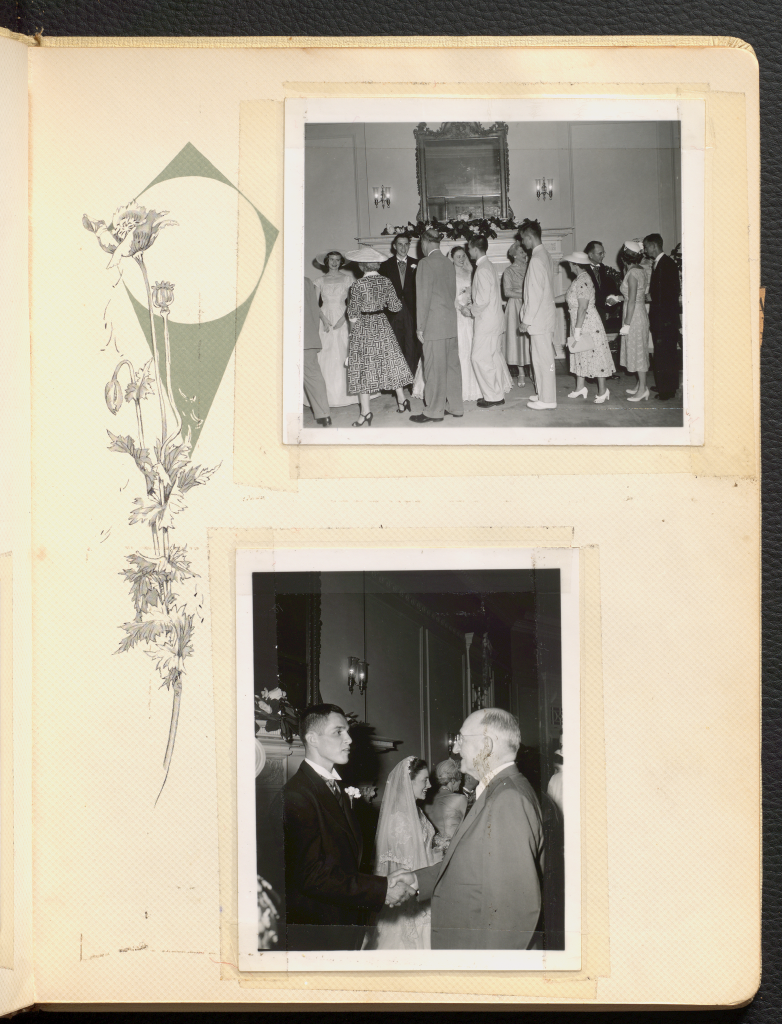 Two black and white polaroids of Anne Wilson Rowe's wedding reception