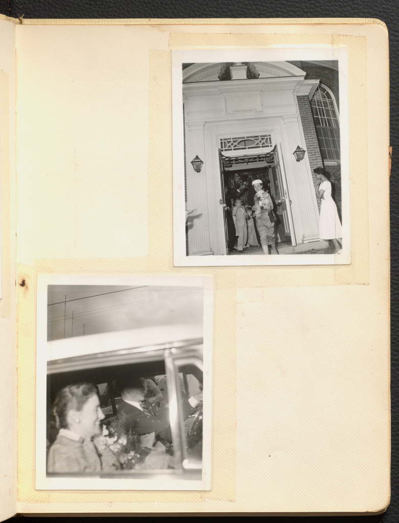 Two black and white polaroids of Anne Martin Wilson's wedding reception, one of the venue entrance at 801 Hanover Street, and another of two individuals driving a car.