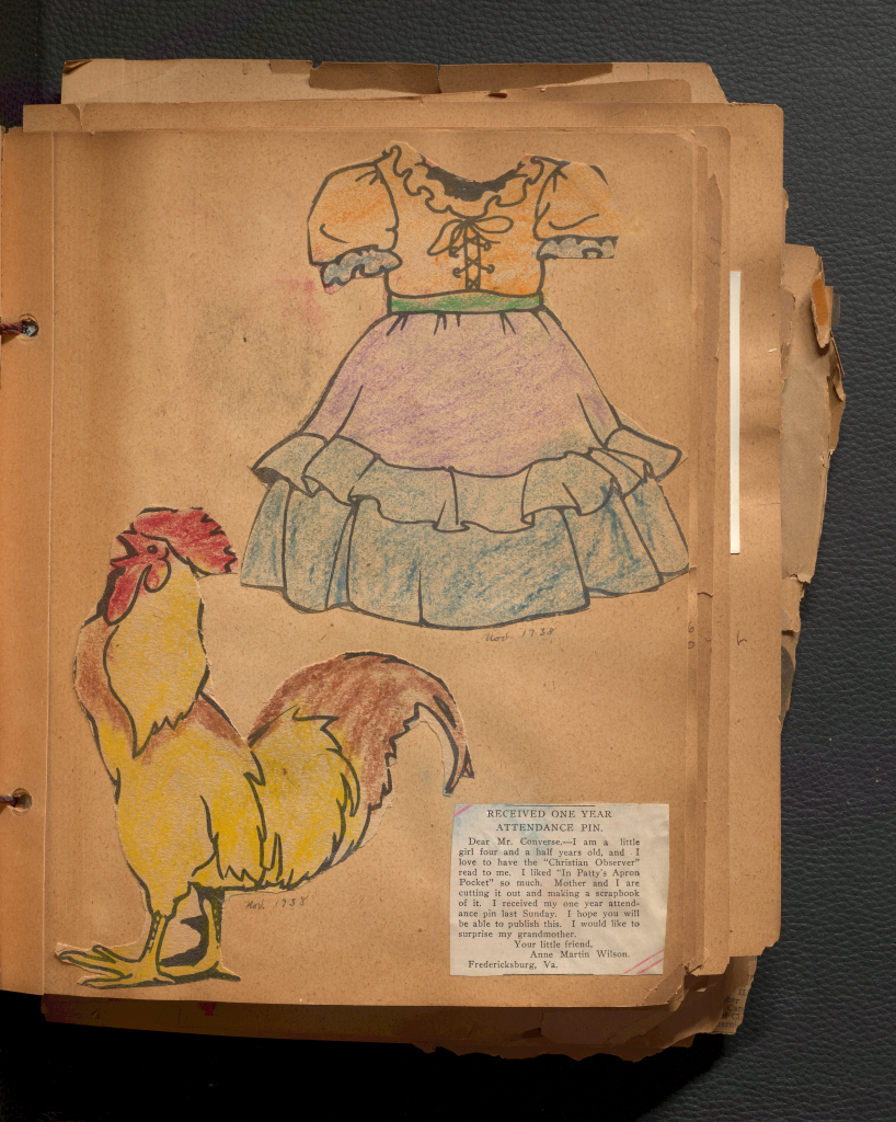 This page of Anne Martin Wilson's childhood scrapbook features a newspaper clipping and two childhood coloring pages.