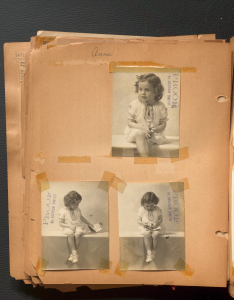 Three black and white professional photos of Anne Wilson as a child