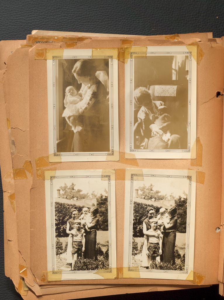 Four equally sized black and white photos of Anne Wilson's Family