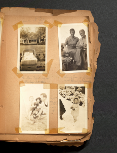 Four equally sized black and white photos of Anne Wilson's Family in different seasons