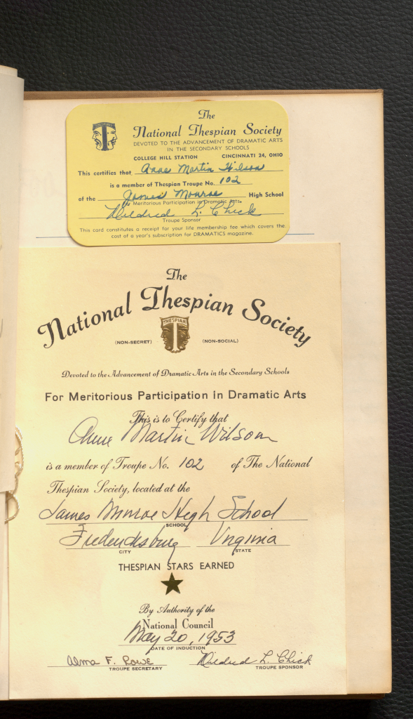 """This page shows that Anne was a member of """"The National Thespian Society."""""""