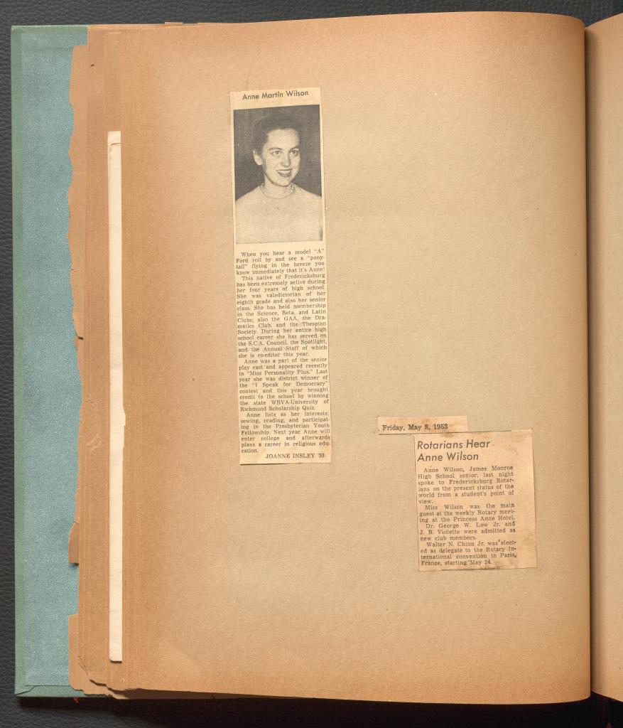 Newspaper clippings describing Anne Martin Wilson's accomplishments