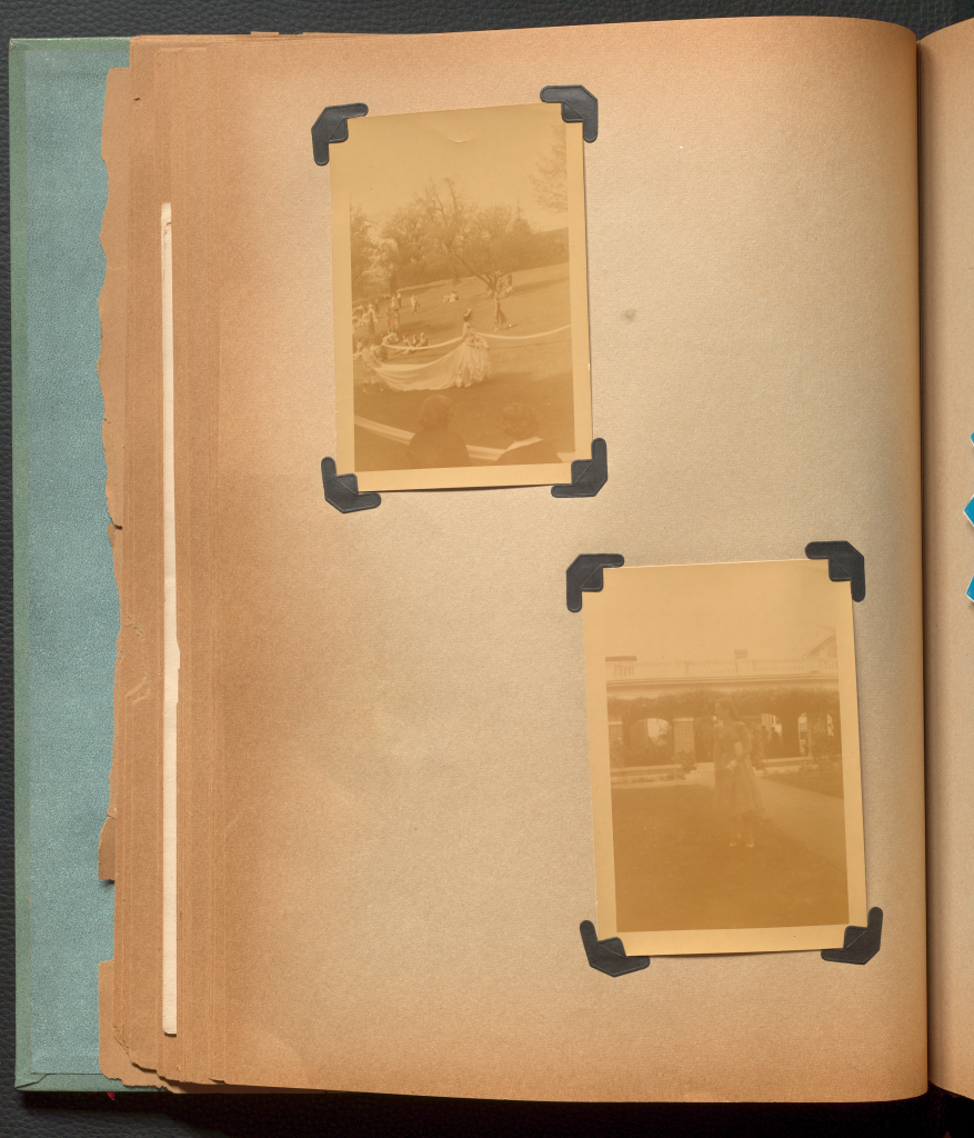 Two sepia photos of Anne Martin Wilson at Sweet Briar College.