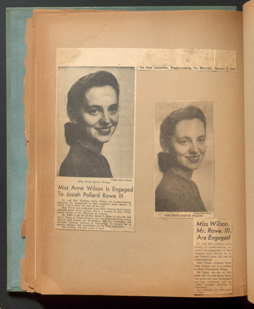 Newspaper clippings announcing Anne's engagement to Josiah Rowe, III
