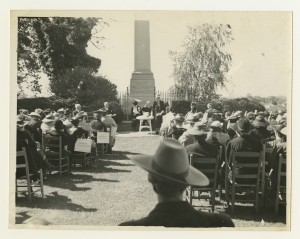 Black and white photo of a crowd gathered at the Mary Washington Monument in Fredericksburg, Virginia.