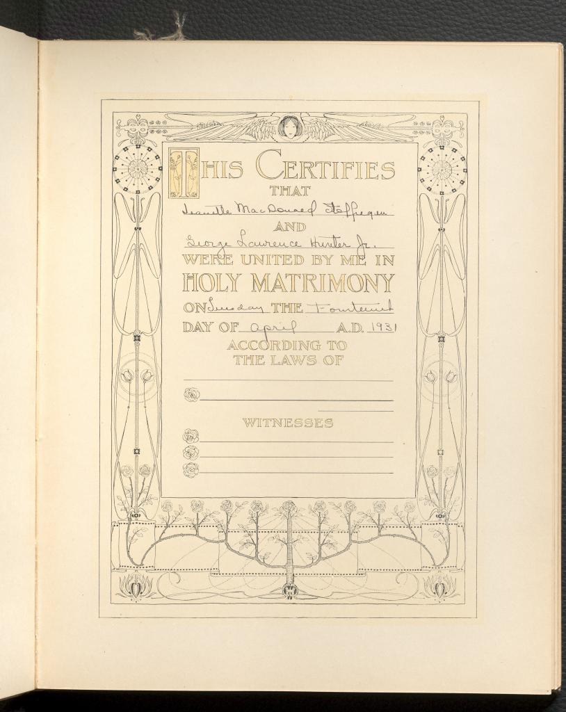 Wedding Certification Template from Jeanette Stoffregen's Bride Book, featuring handwritten entries.