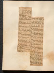 """A newspaper cut-out split into two sections titled """"Hunter-Stoffregen Wedding Solemnized"""""""