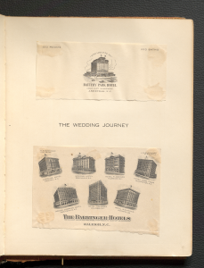 Two post cards from North Carolina hotels stayed at by Katherine Stoffregen and Fielding L. Lewis on their wedding journey.