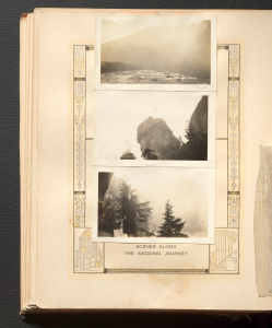 Three black and white photos from North Carolina taped to a 1931 bridal book.