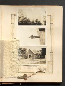 Three black and white photos of North Carolina taped to a bridal book alongside a piece of wedding dress lace and a piece of cotton.